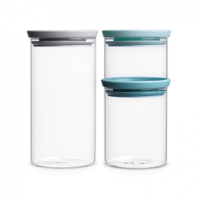 Komplet 3 pojemników szklanych