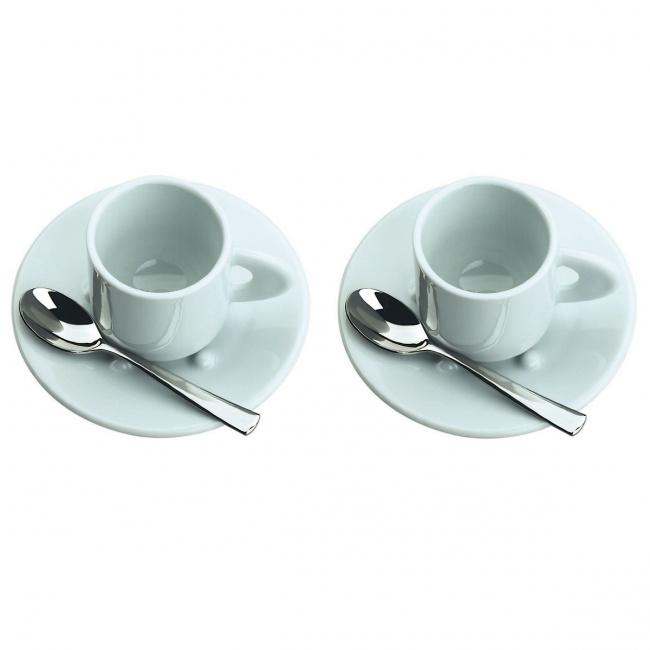 Zestaw 2 filiżanek 80ml do espresso + łyżeczki