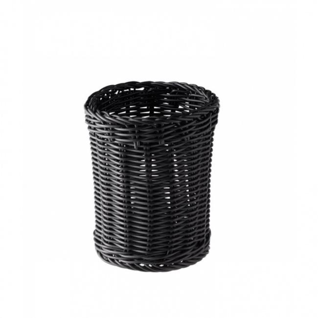 Koszyk polirattanowy 12x15cm na sztućce czarny